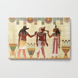 egyptian design man woman priest Metal Print