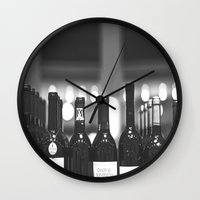 wine Wall Clocks featuring wine by Alyson Cornman Photography