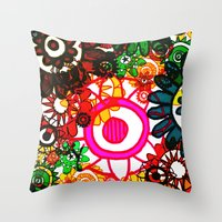 hippy Throw Pillows featuring Hippy Shake! by Charlotte Douthwaite