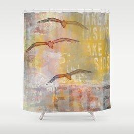 Free bird mixed media artwork Sea Gulls and Typography Shower Curtain
