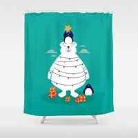 arctic monkeys Shower Curtains featuring Christmas in Arctic by Steven Toang