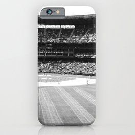 Safeco Field in Seattle Washington - Mariners baseball stadium in black and white iPhone Case