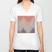 ikat V-neck T-shirts featuring IKAT GEOMETRIE II by Nika