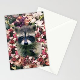 Cute Floral Raccoon Flower Stationery Cards