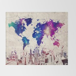 world map city skyline galaxy 2 Throw Blanket