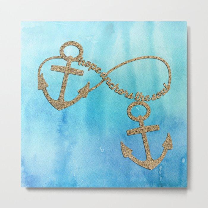 Hope anchors the soul - Sea Beach Anchor Water Metal Print