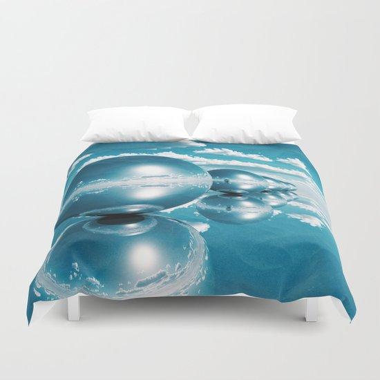 blue spheres in line paper Duvet Cover