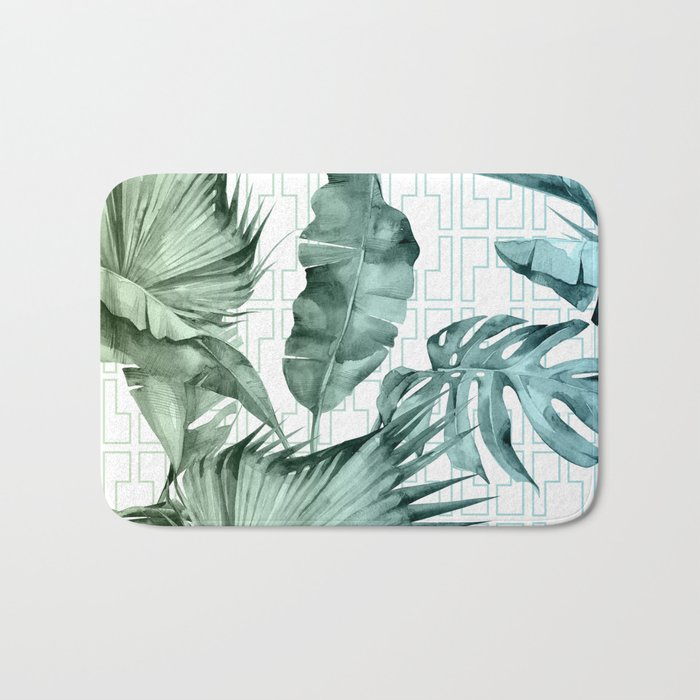 Mod Tropical Palm Leaves in Turquoise Green Blue Gradient Bath Mat