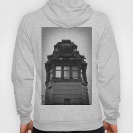 Black and White Top of Chicago River Boat House Photography Hoody