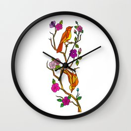 Bird on Cherry Blossom Low Polygon Wall Clock
