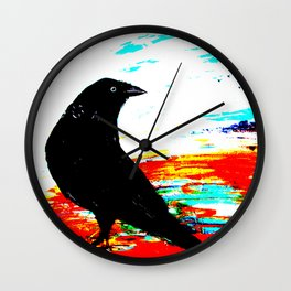 Crow on Red Wall Clock
