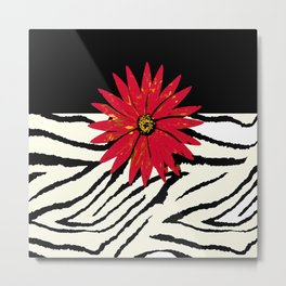 Animal Print Zebra Black and White and Red flower Medallion Metal Print