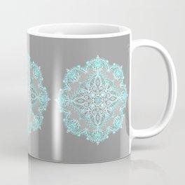 Teal and Aqua Lace Mandala on Grey Coffee Mug