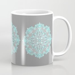 Teal and Aqua Lace Mandala on Grey Coffee Mug