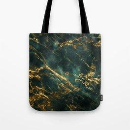 Lavish Velvety Green Marble With Ornate Gold Veins Tote Bag