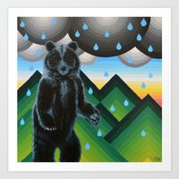 Geometric Black Bear Art Print
