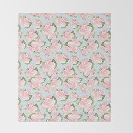 Pink Roses on Blue Polka Dots Throw Blanket
