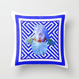 CONTEMPORARY BLUE & WHITE PATTERN IRIS PATTERN Throw Pillow