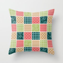Zigzag, Polka Dots, Gingham - Green Red Blue Throw Pillow