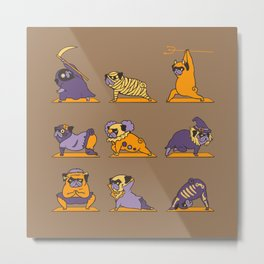 Pug Yoga Halloween Monsters Metal Print
