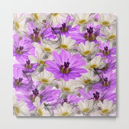 Floral Circle Abstract Metal Print