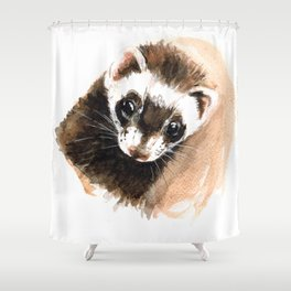 Ferret portrait Shower Curtain