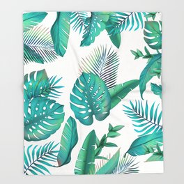 Tropical leafs pattern Throw Blanket
