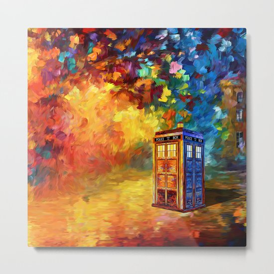 Police Phone Box at Rainbow city Art painting iPhone 4 4s 5 5c 6 7, pillow case, mugs and tshirt Metal Print