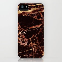 Marble, Masala Red + Faux Gold Veins iPhone Case