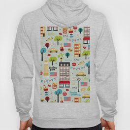 Fun New York City Manhattan travel icons life hipster pattern Hoody