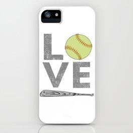 Cute LOVE Softball Lover gift for men & Women iPhone Case