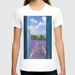 wooden shutters, lavender field T-shirt