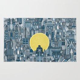 space city sun blue Rug