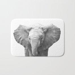 Black and White Baby Elephant Bath Mat