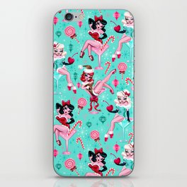 Christmas Candy Martini Pinup Girls iPhone Skin