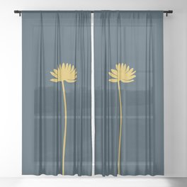 Tall Flower in Mustard Yellow and Navy Blue. Minimalist Modern Floral Sheer Curtain