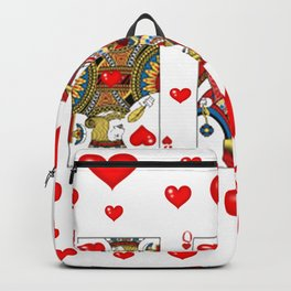 JACK, QUEEN, KING OF HEARTS SUIT CASINO  FACE CARDS Backpack