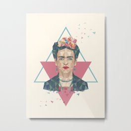 Pastel Frida - Geometric Portrait with Triangles Metal Print