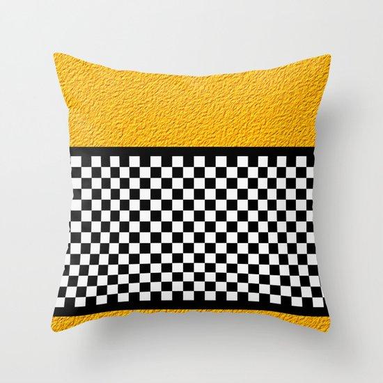 Checkered/Textured Gold Throw Pillow