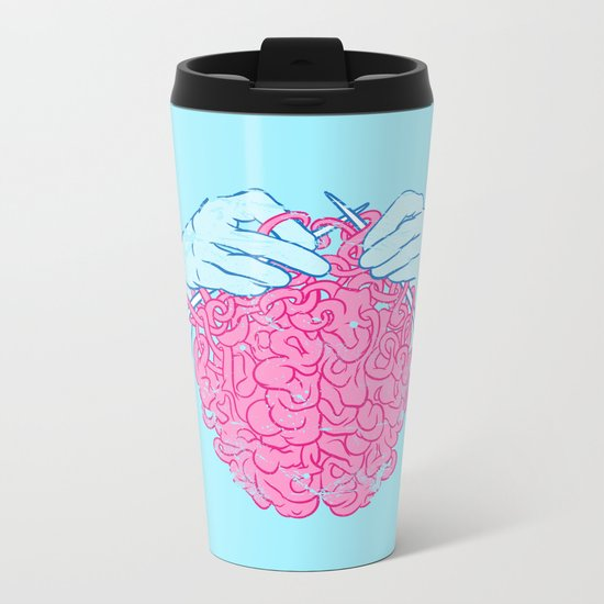 Knitting a brain Metal Travel Mug
