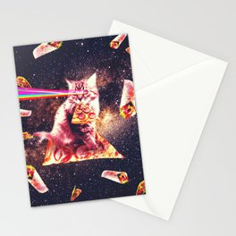 Outer Space Pizza Cat - Rainbow Laser, Taco, Burrito Stationery Cards