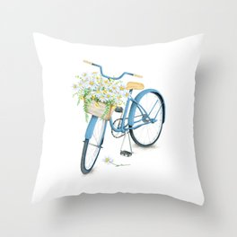 Vintage Blue Bicycle with Camomile Flowers Throw Pillow
