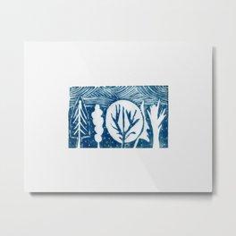 linocut trees print Metal Print