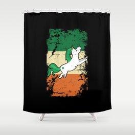 Distressed Irish Flag St Patrick Unicorn Shower Curtain