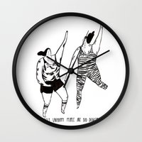 be happy Wall Clocks featuring happy by mariana, a miserável(the miserable one)
