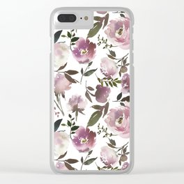 Modern hand painted ivory purple pink watercolor roses Clear iPhone Case