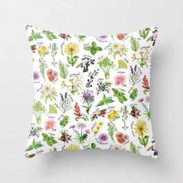 Plants & Herbs Alphabet Throw Pillow