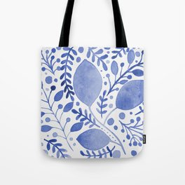 Branches and leaves - blue Tote Bag