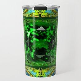 YELLOW  DECORATIVE  GREEN EMERALD GEM & BUTTERFLY ART Travel Mug