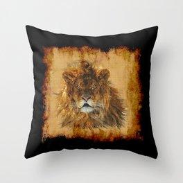 The Lion Papyrus - Big Cat Artwork Throw Pillow